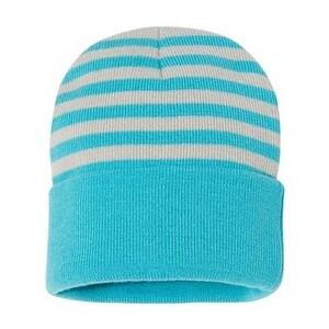 "Sportsman 12"" Striped Knit Beanie - Grey/ Oasis Blue - One Size"