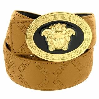 Brown Leather Greek Belt Medusa Face Buckle Gold Tone 37mm Brand New Hip Hop