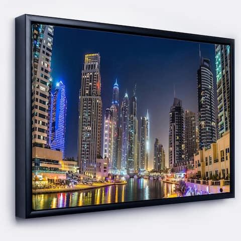 Designart 'Dubai Downtown in Summer Night' Cityscape Photo Framed Canvas Print