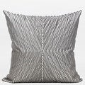 "G Home Collection Luxury Gray Handmade X Shape Textured Beaded Pillow 20""X20"" - Thumbnail 0"