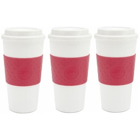 Copco Acadia Insulated Mug With Non Slip Sleeve BPA Free 16 Oz 3 Pack, Apple Red - Apple Red
