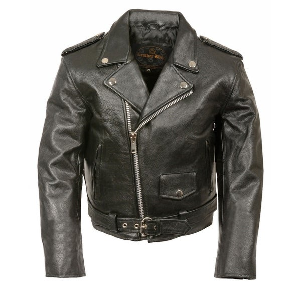 50b496b43 Shop Kids Leather Traditional Style Motorcycle Jacket - Free Shipping Today  - Overstock - 17248766