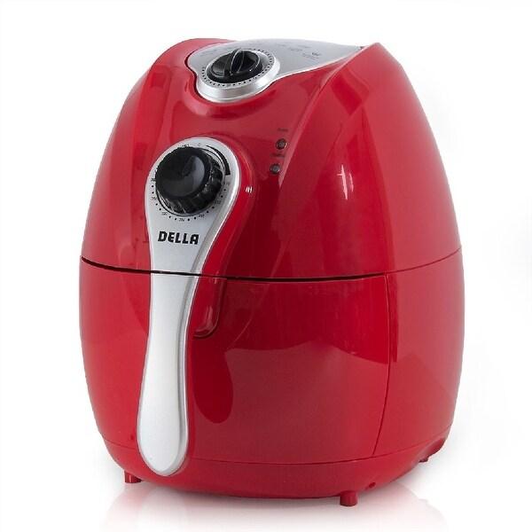 Della Electric Air Fryer w/ Temperature Control, Detachable Basket Handle - Red, 1500W