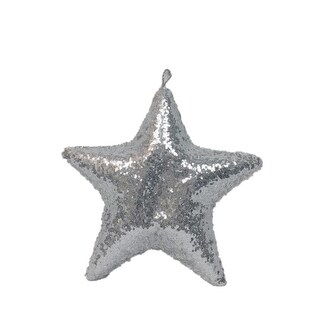 "20"" Sparkly Silver Inflatable Star Shaped Ornament"