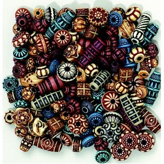 Creativity Street Plastic Carved Decorated Exotic Bead, Assorted Color, 4 oz