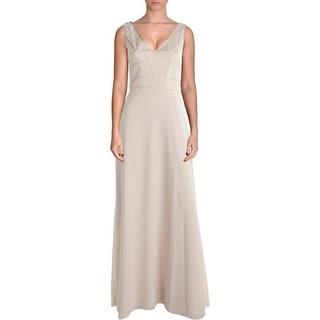Aidan Mattox Womens Silk Trim Prom Evening Dress