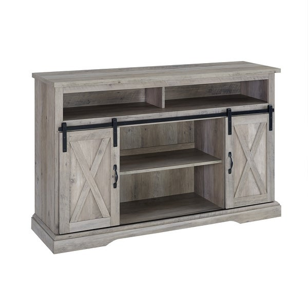 """Delacora WE-BD52HBSBD Elise 52"""" Wide Laminate Farmhouse TV Stand with Barn Style Sliding Doors"""