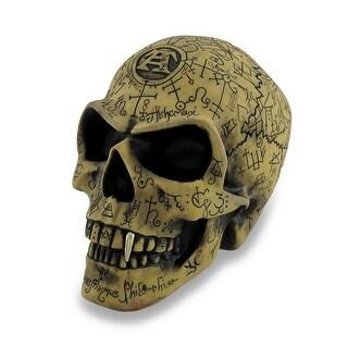 Alchemy Gothic Ancient Rune Engraved Omega Skull Statue - KHAKI