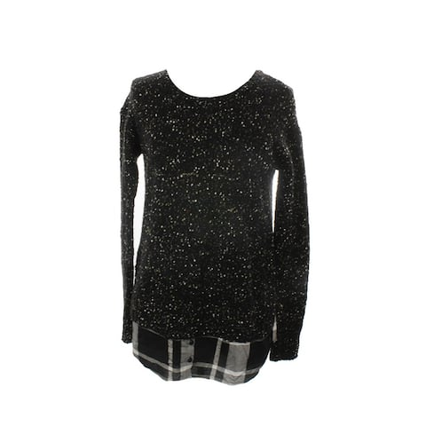 Kensie Black Long-Sleeve Knit Layered Look Sweater S