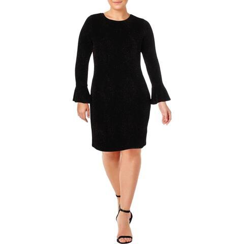Michael Kors Womens Plus Cocktail Dress Glitter Flare Sleeves