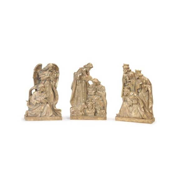 """Set of 3 Antique-Gold Christmas Religious Nativity Scene Table Top Pieces 18"""" - GOLD"""