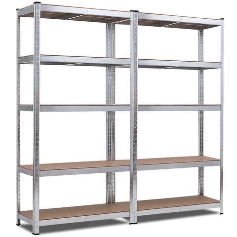 Costway 2 PCS 72-Inch 5-Tier Storage Rack Adjustable Garage Shelf