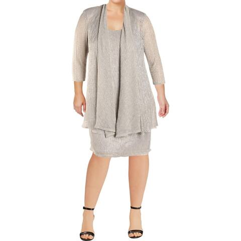 R & M Richards Womens Dress With Jacket 2PC Metallic
