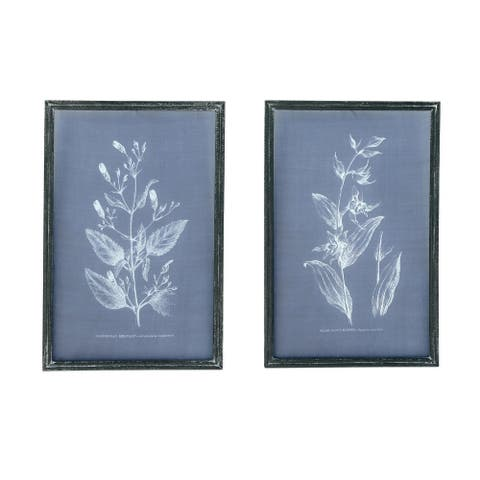 Botanical on Transparent Silk Screen Wall Decor with Wood Frame (Set of 2 Styles) - Distressed Blue