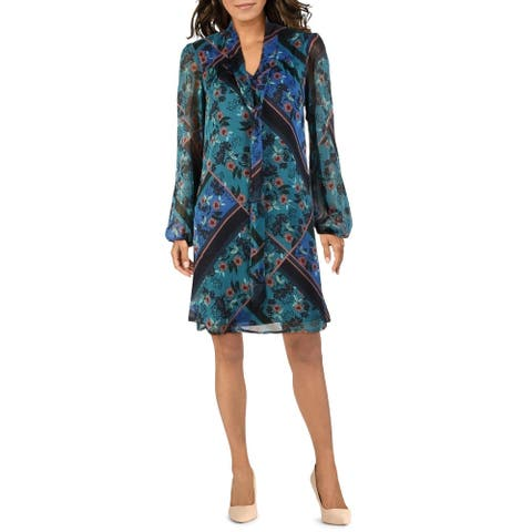 Kensie Womens Wear to Work Dress Chiffon Floral Print - Teal