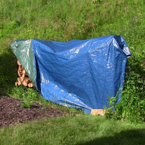 Sunnydaze 12 x 16-Foot Blue and Green Waterproof Multi Purpose Poly Tarp - 12 x 16 Feet
