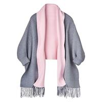 Women's Shawl Collar Wrap - Cuffed Sleeves and Fringed Tassels - One size