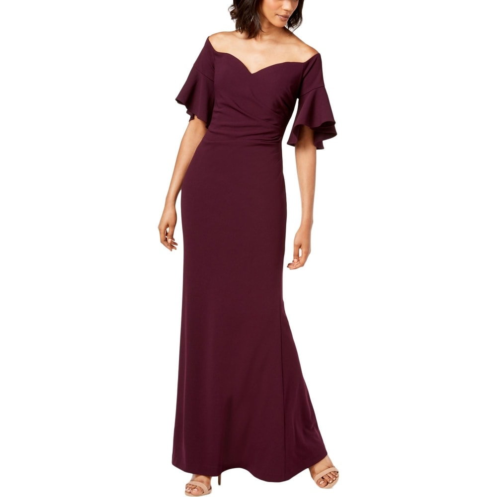 Calvin Klein Womens Off The Shoulder Ruched Full Length Gown