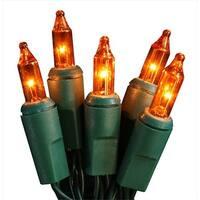 Battery Operated Orange Mini Christmas Lights - Green Wire, Set