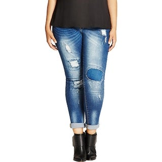 City Chic Womens Plus Harley Skinny Jeans Medium Wash Patched