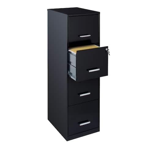 Space Solutions 18-inch Deep 4-drawer Black Metal File Cabinet