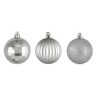 "100ct Silver Splendor 3-Finish Shatterproof Christmas Ball Ornaments 2.5"" (60mm)"