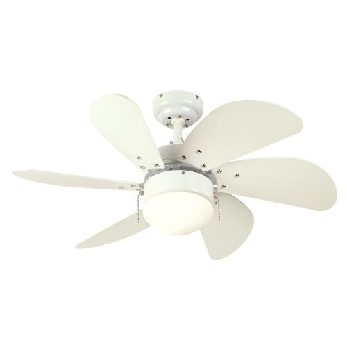 "Westinghouse 7814565 Turbo Swirl 30"" 6 Blade Hanging Indoor Ceiling Fan with Reversible Motor, Blades, Light Kit, and Down Rod"