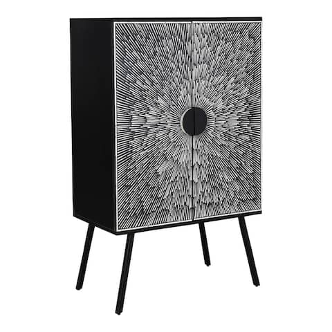 Aurelle Home Modern Solid Mango Wood and Iron Wine Cabinet