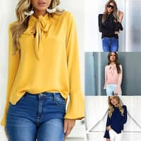 Solid Color Bow Tie Long Sleeve Blouse Tops T-Shirt