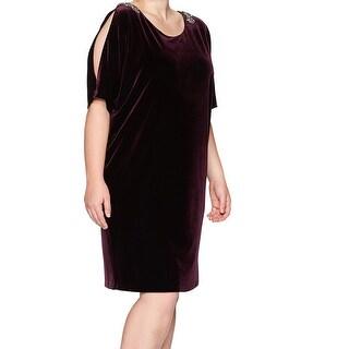 Alex Evenings Purple Cutaway Sleeves Velvet 20W Plus Sheath Dress