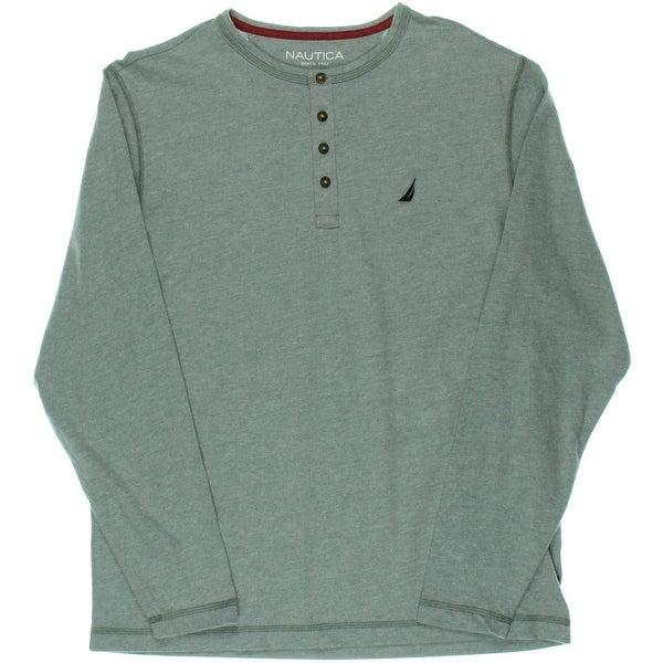 Nautica Mens Henley Shirt Heathered Long Sleeves