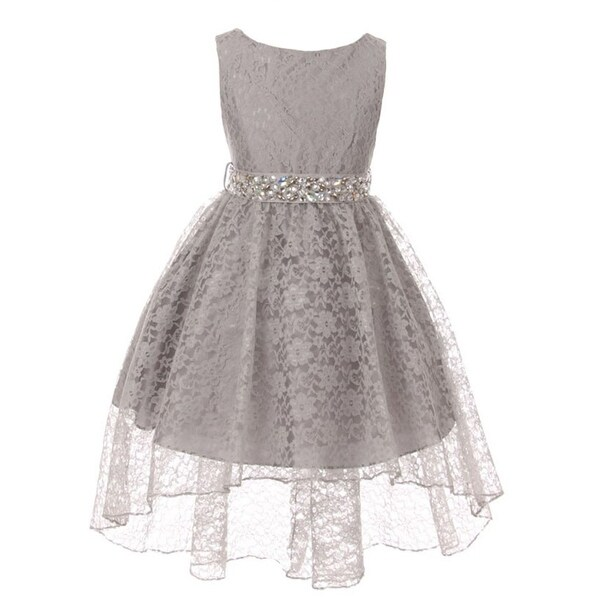 Shop Little Girls Silver Rhinestone Belt High Low Skirt Flower Girl Dress - Free  Shipping Today - Overstock - 18162877 5db7c37d5ab5