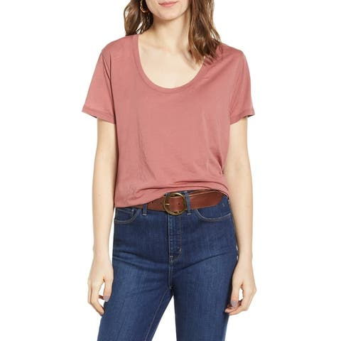 Treasure & Bond Women's Knit Top Tee T-Shirt Pink Size Small S Scoop Neck