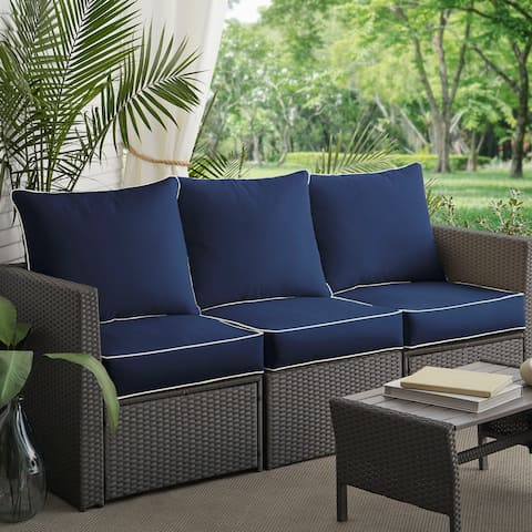Sunbrella Navy Canvas Outdoor 6-piece Corded Pillow and Cushion Set