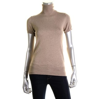 Zara Knit Womens Short Sleeve Ribbed Trim Turtleneck Sweater