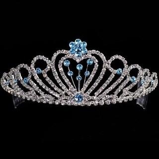 Crystal Rhinestone Blue Flower Quinceanera Pageant Tiara Headpiece