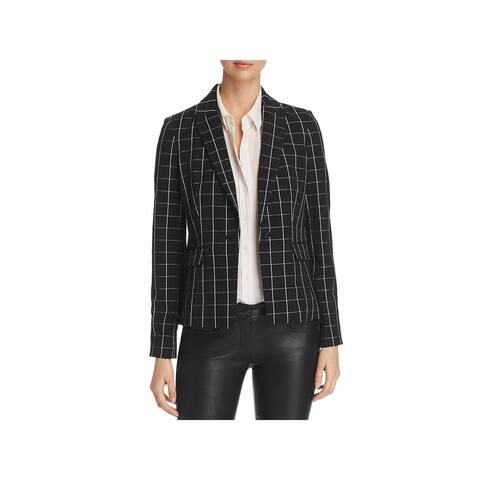Karl Lagerfeld Womens One-Button Blazer Windowpane Long Sleeve