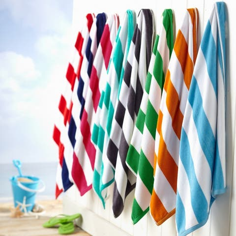 Great Bay Home Oversize Cotton Striped Beach Towels