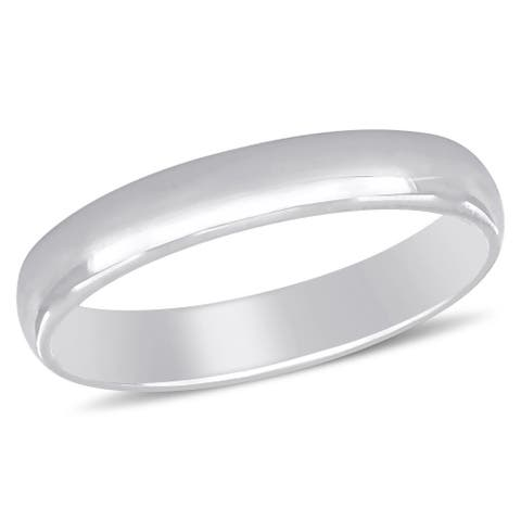 Miadora 14k White Gold Stackable Wedding Band Ring (3mm)