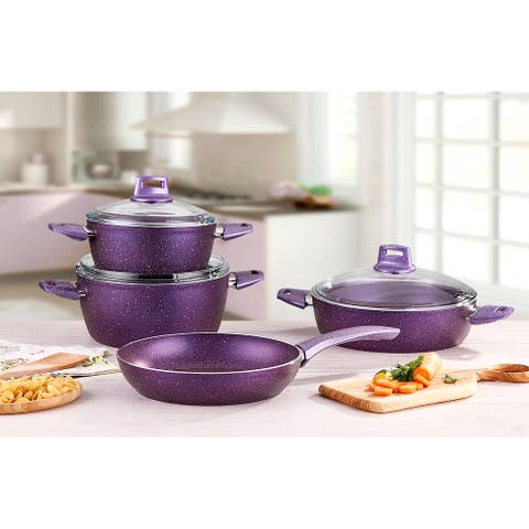 SavaHome Granite Cookware Set, 7 pcs, Purple
