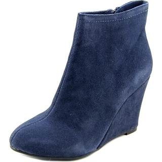 Chinese Laundry At Once Women Round Toe Suede Blue Bootie