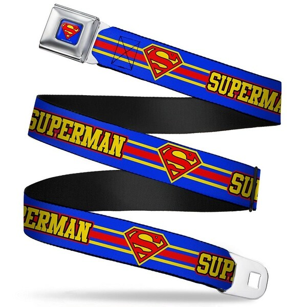 Superman Full Color Blue Superman Shield Stripe Blue Yellow Red Webbing Seatbelt Belt