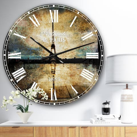 Designart 'Reflection of Paris Eiffel TowerWith Clouds' Oversized Wall CLock