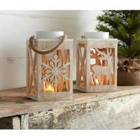 Pack of 6 Decorative Brown Wooden Snowflake and Deer Lantern