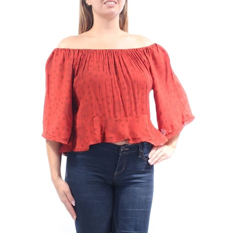 BUFFALO Womens Orange Printed Bell Sleeve Off Shoulder Top Size: S
