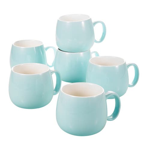 5-In Blue Porcelain Coffee Mugs Service for 6