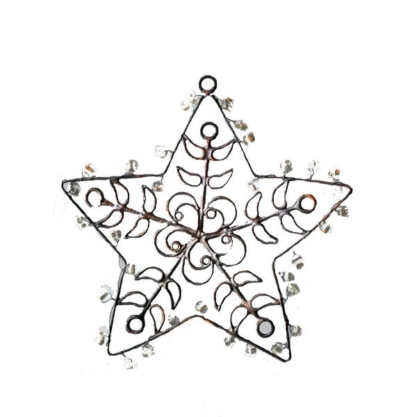 Set of 3 Handcrafted Rustic Distressed Finish Jeweled Star Christmas Ornaments 3.5""
