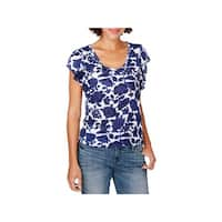 Lucky Brand Womens Pullover Top Floral Print Flutter Sleeves - M