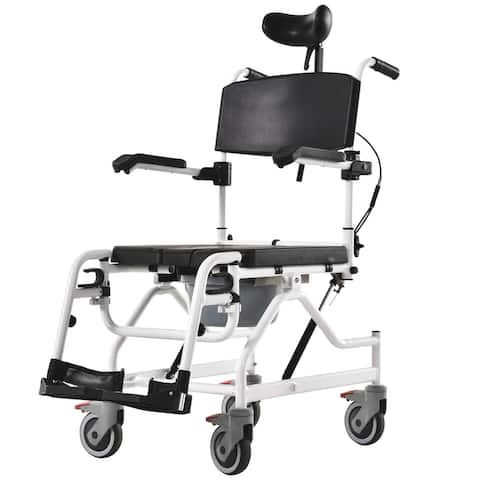 HOMCOM Personal Mobility Assist Bedside Commode Toilet Chair with Reclining Backrest & Four Rolling Wheels
