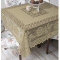Tablecloth Grega Design Brazilian Lace 59x59 Inches Ocher (Light Brown) Color 100 Percent Polyester - Thumbnail 0
